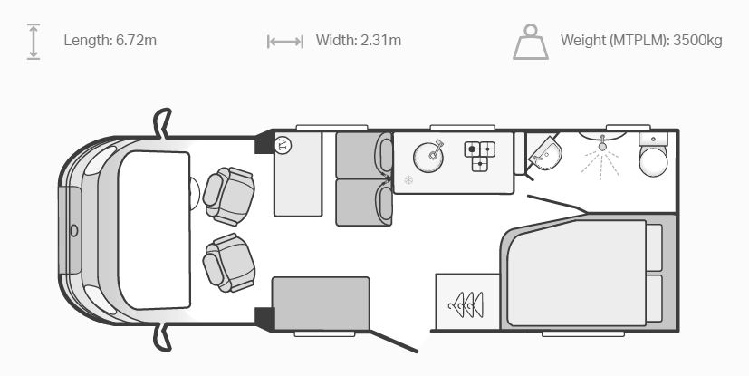 4 Berth Swift Escape 664floorplan