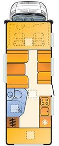 6 berth Adria Sun Livingfloorplan
